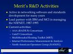 merit s r d activities