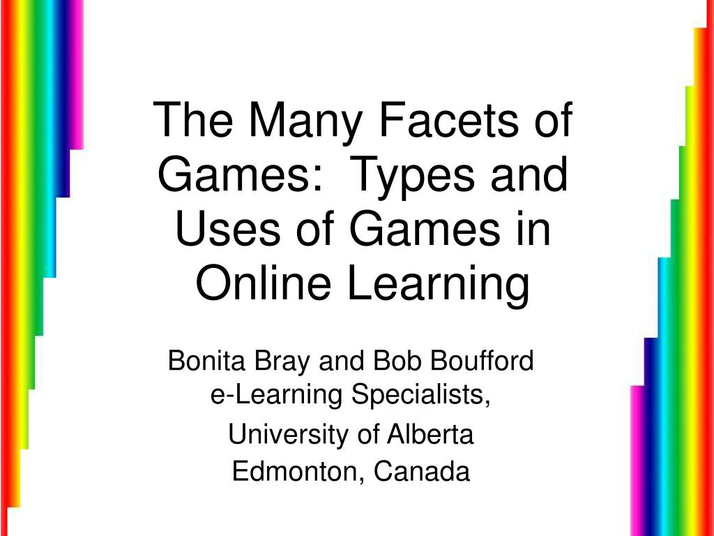 the many facets of games types and uses of games in online learning l.