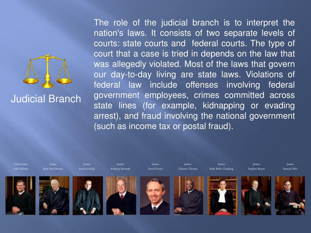 The role of the judicial branch is to interpret the nation's laws. It consists of two separate levels of courts: state courts and  federal courts. The type of court that a case is tried in depends on the law that was allegedly violated. Most of the laws that govern our day-to-day living are state laws. Violations of federal law include offenses involving federal government employees, crimes committed across state lines (for example, kidnapping or evading arrest), and fraud involving the national government (such as income tax or postal fraud).