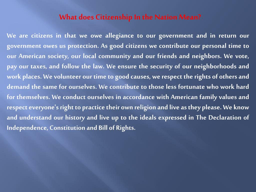 What does Citizenship In the Nation Mean?