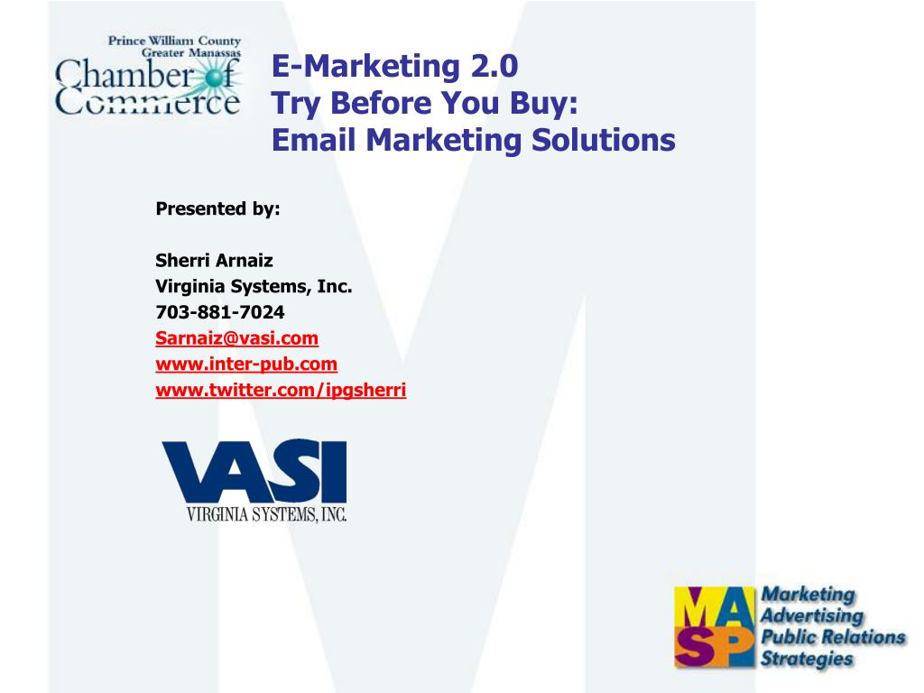 e marketing 2 0 try before you buy email marketing solutions l.