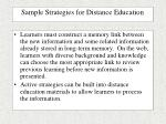 sample strategies for distance education