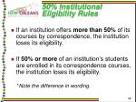 50 institutional eligibility rules