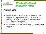 50 institutional eligibility rules31