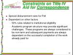 constraints on title iv aid for correspondence27