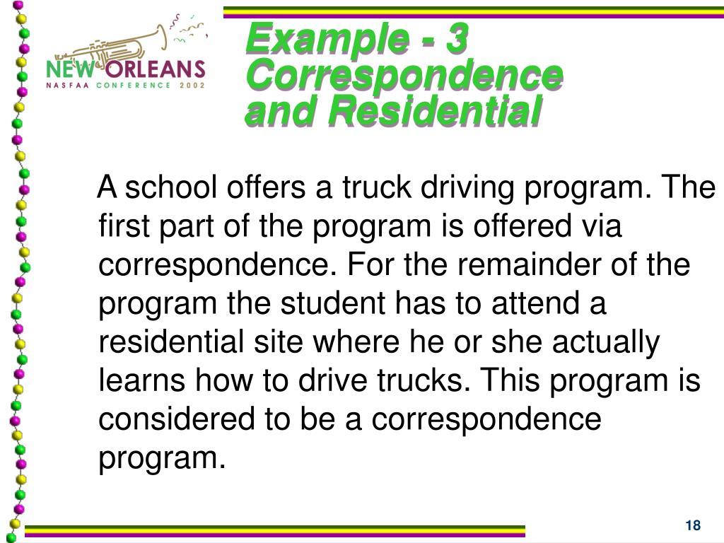 Example - 3 Correspondence