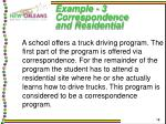 example 3 correspondence and residential