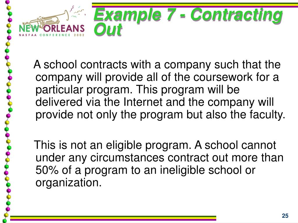 Example 7 - Contracting Out