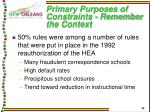 primary purposes of constraints remember the context