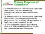 primary purposes of constraints