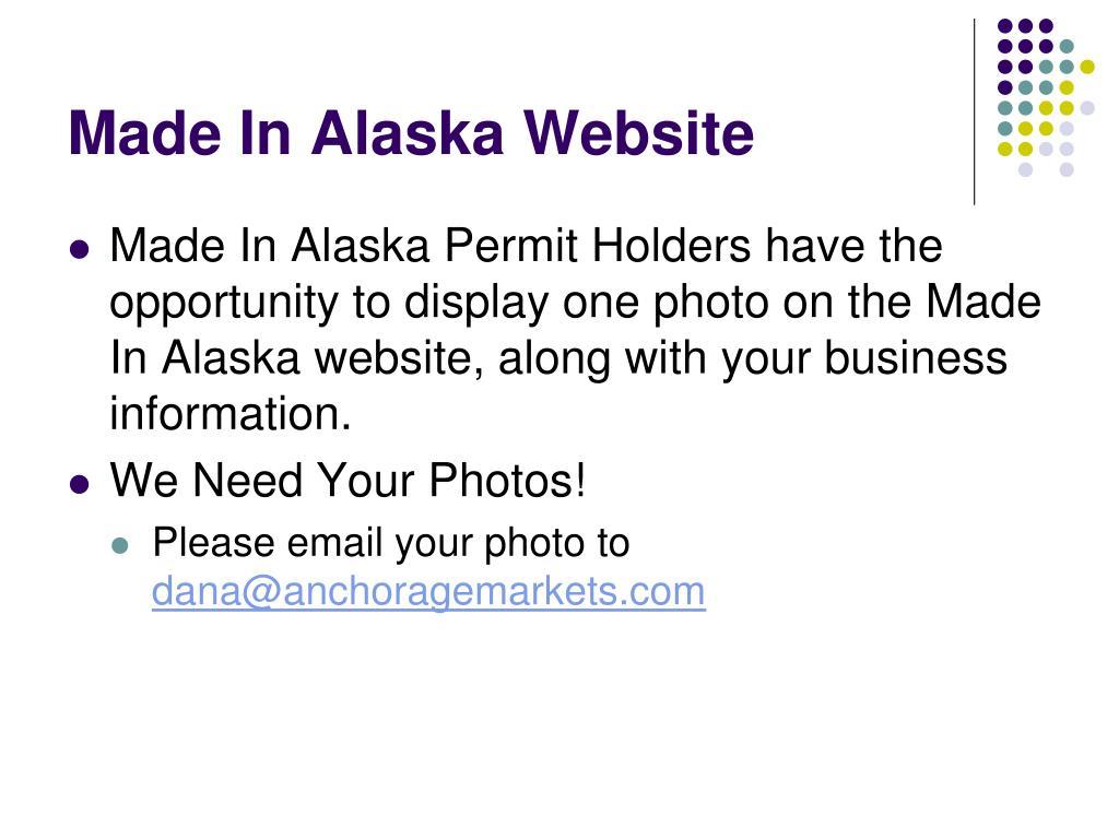 Made In Alaska Website