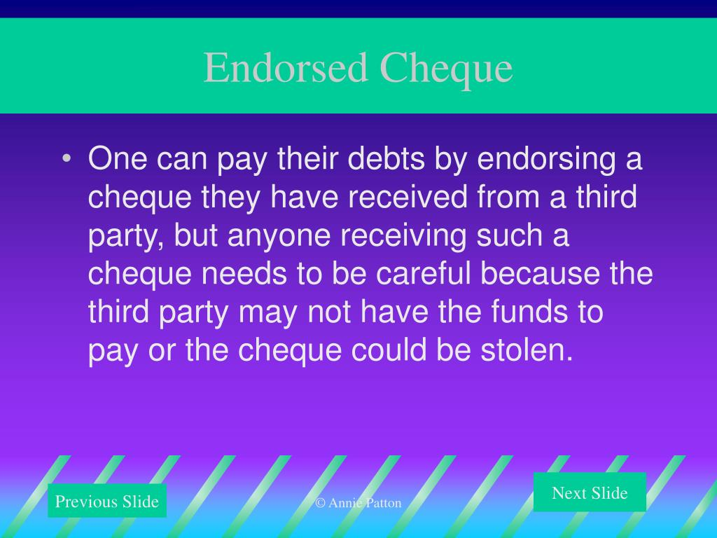 Endorsed Cheque