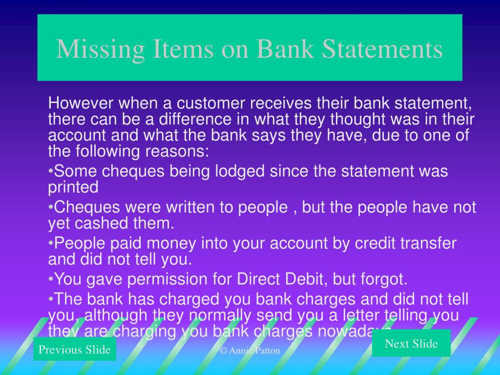 Missing Items on Bank Statements