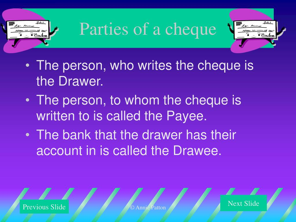 Parties of a cheque