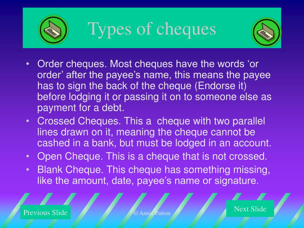 Types of cheques