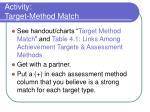 activity target method match