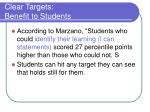 clear targets benefit to students