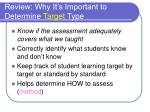 review why it s important to determine target type