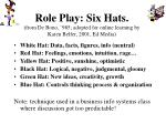 role play six hats from de bono 985 adopted for online learning by karen belfer 2001 ed media