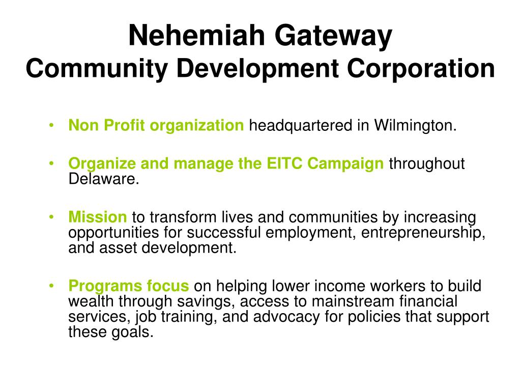 nehemiah gateway community development corporation l.