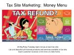 tax site marketing money menu
