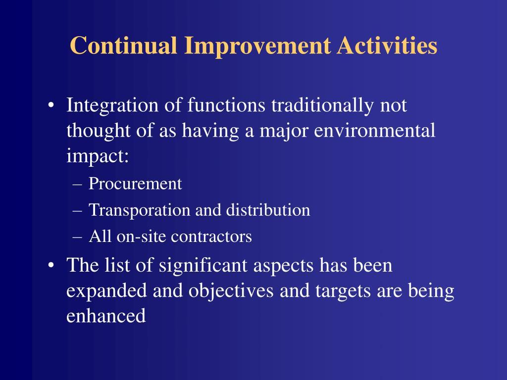 Continual Improvement Activities
