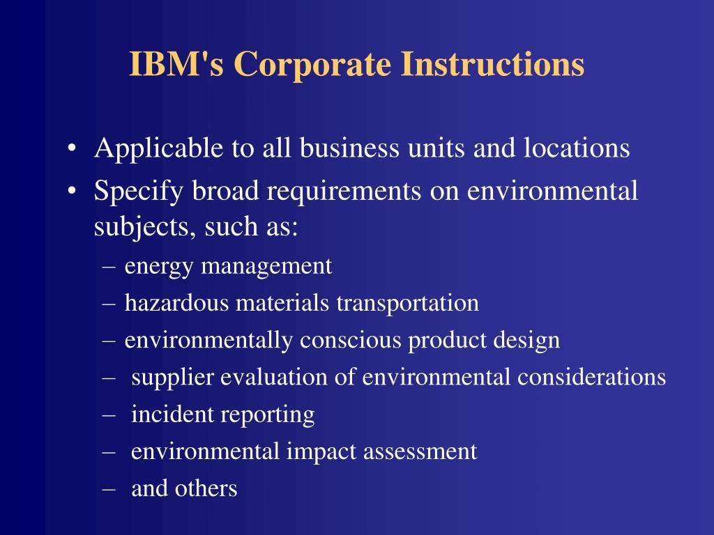 IBM's Corporate Instructions