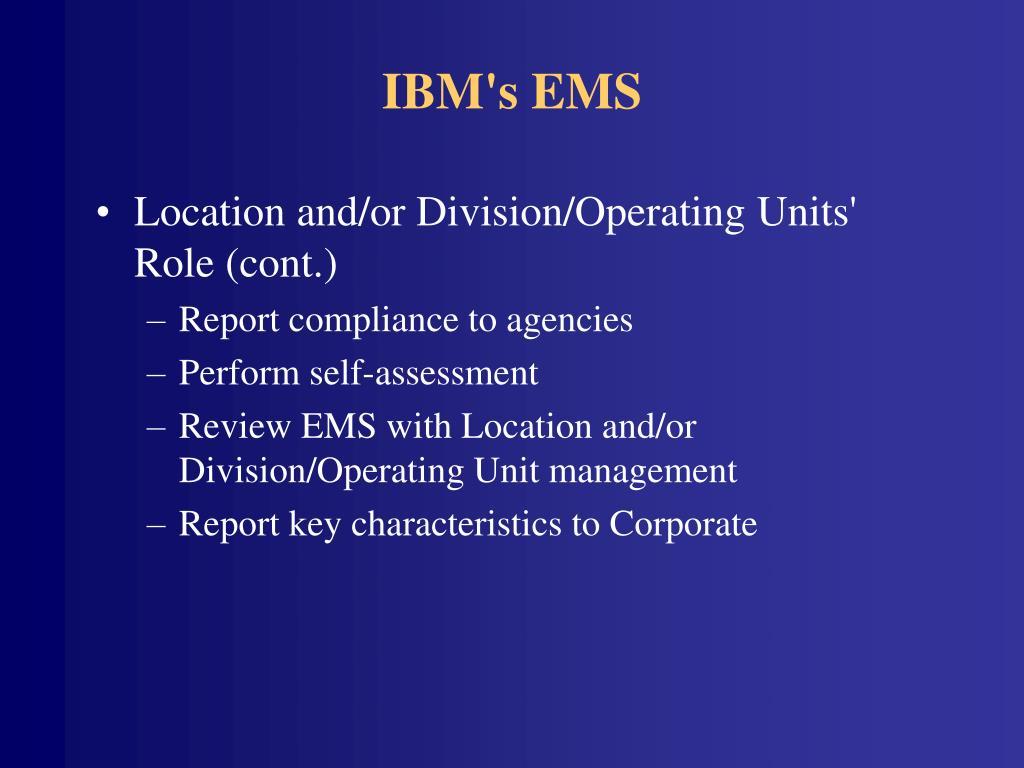 IBM's EMS