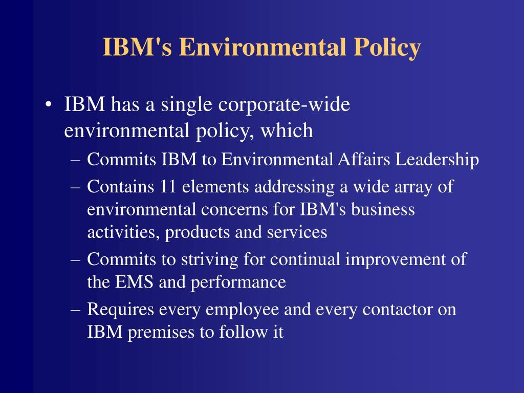 IBM's Environmental Policy
