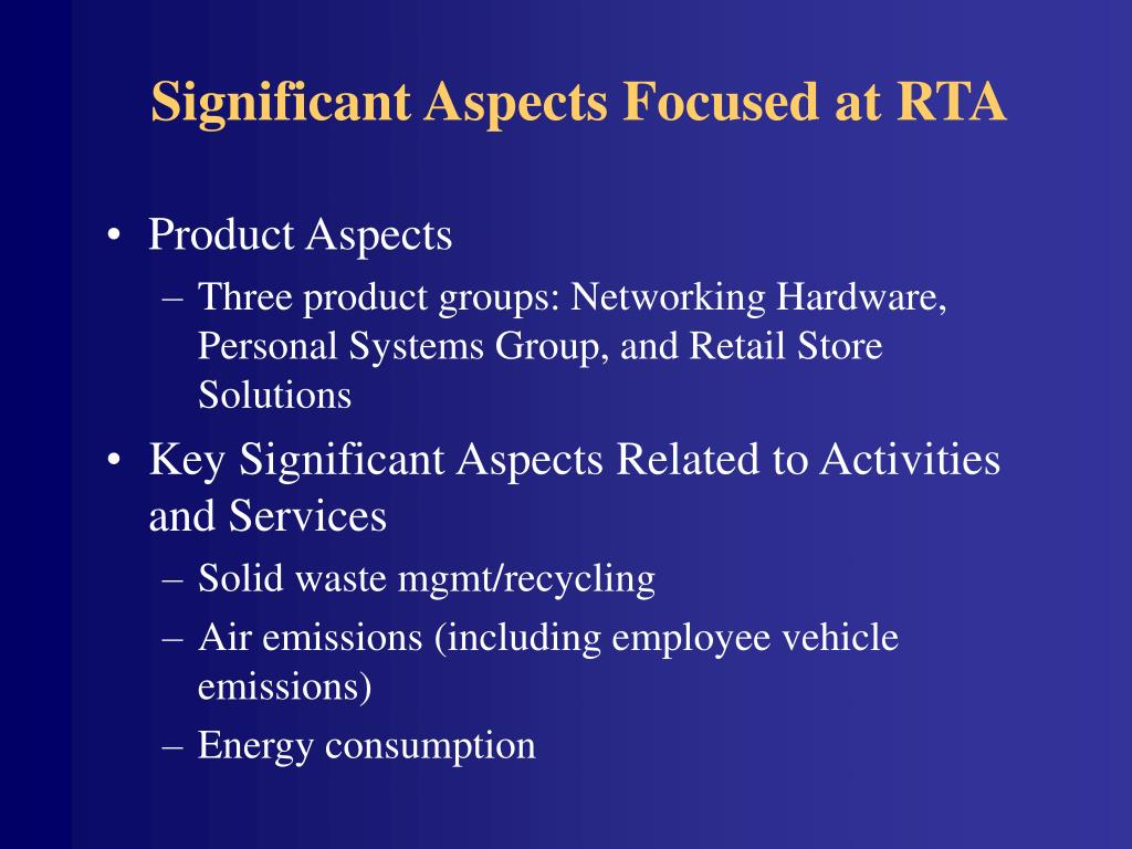 Significant Aspects Focused at RTA