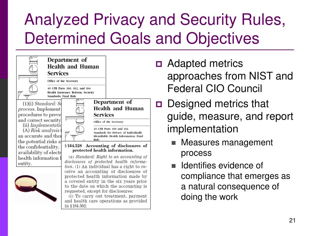 Analyzed Privacy and Security Rules,