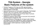 tsa system georgia basic features of the system