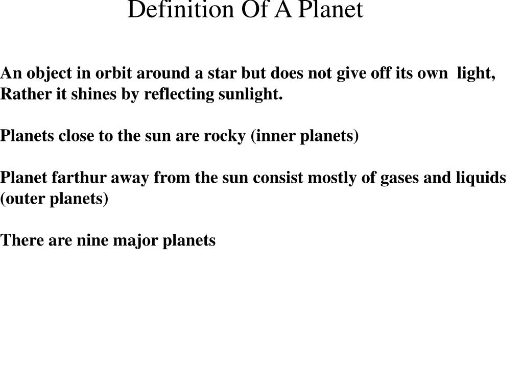 Definition Of A Planet