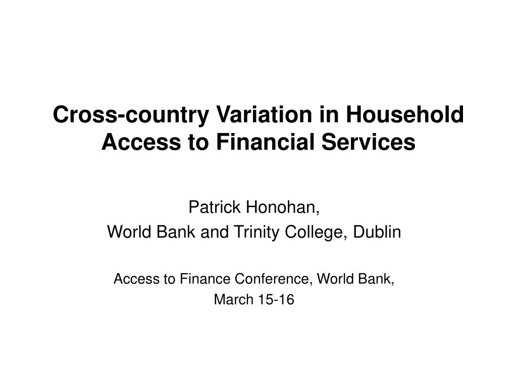cross country variation in household access to financial services l.