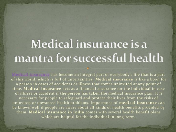 medical insurance is a mantra for successful health n.