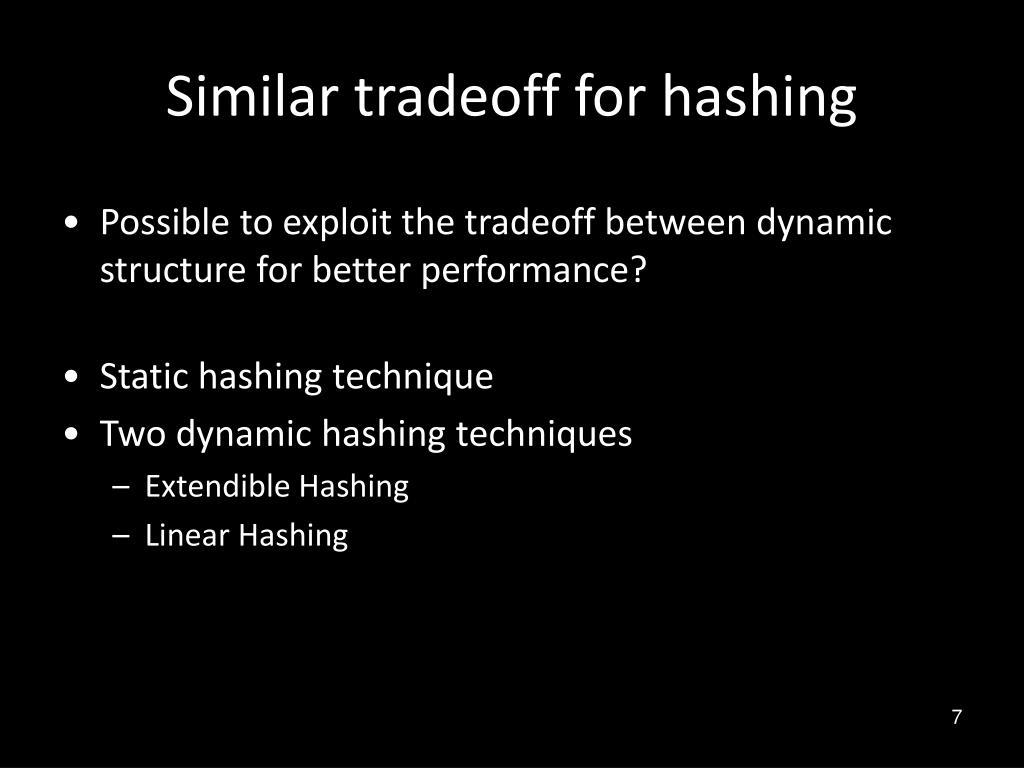 Similar tradeoff for hashing