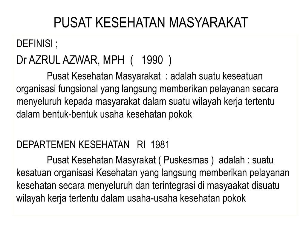 PUSAT KESEHATAN MASYARAKAT