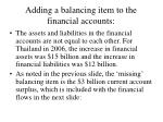 adding a balancing item to the financial accounts
