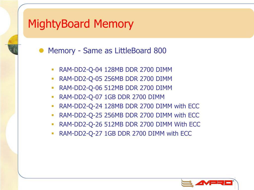 MightyBoard Memory