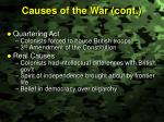 causes of the war cont