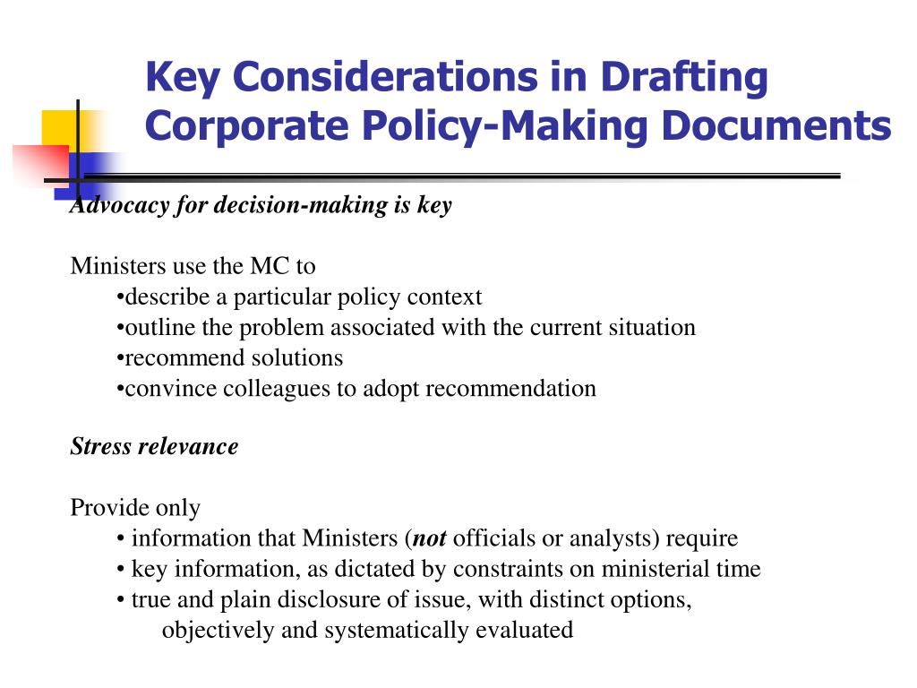 Key Considerations in Drafting Corporate Policy-Making Documents