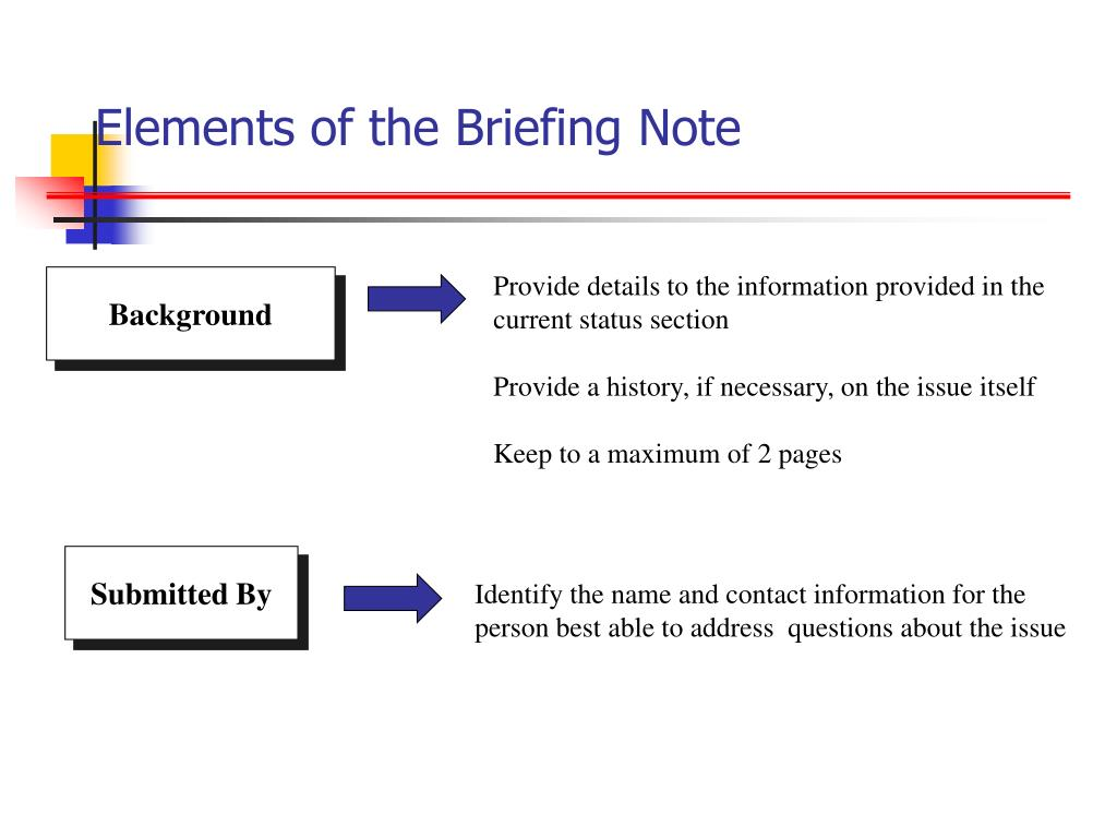 Elements of the Briefing Note