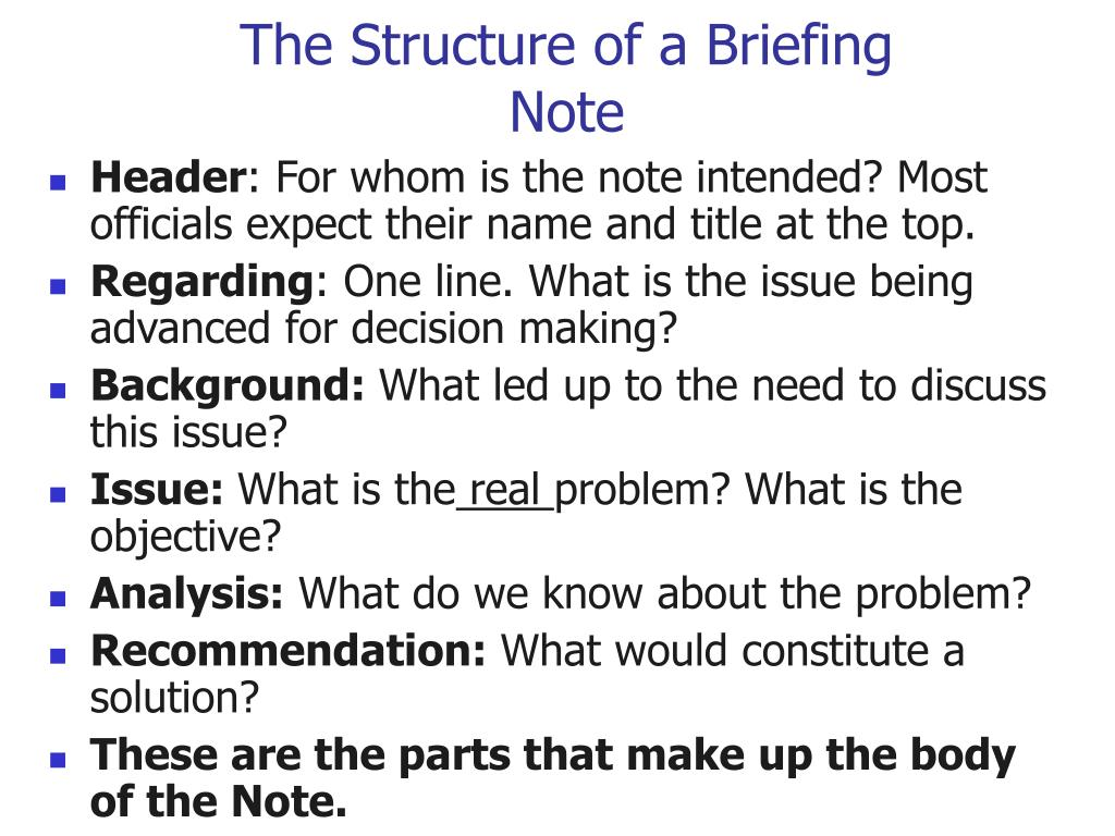 The Structure of a Briefing Note