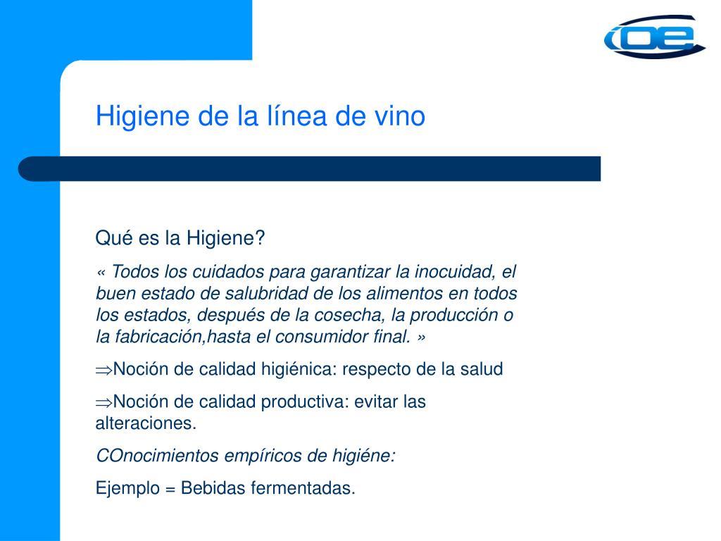Higiene de la línea de vino