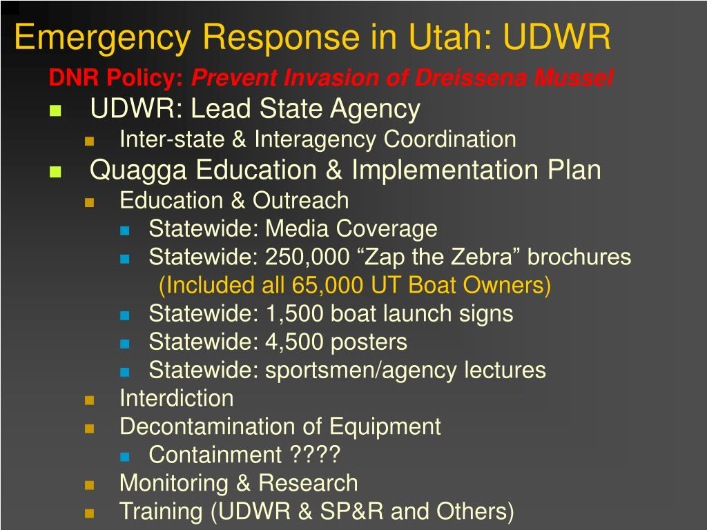 Emergency Response in Utah: UDWR