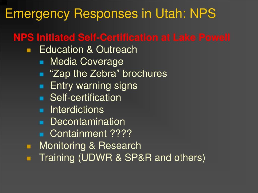 Emergency Responses in Utah: NPS