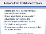 lessons from evolutionary theory