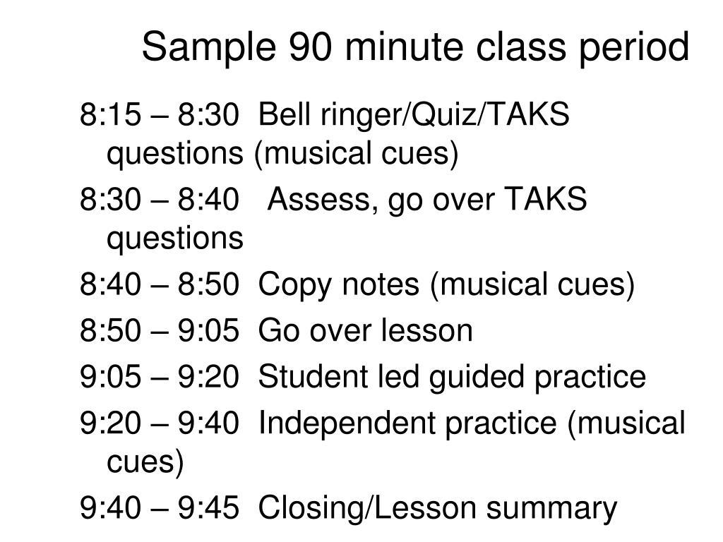 Sample 90 minute class period