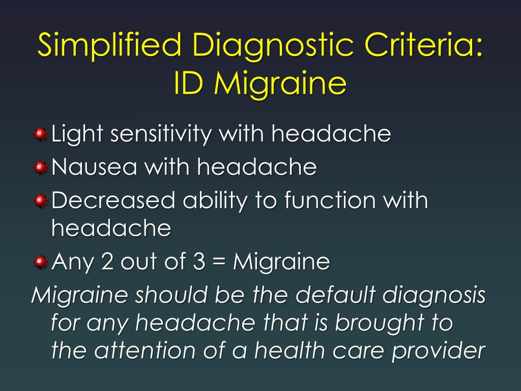 Simplified Diagnostic Criteria: