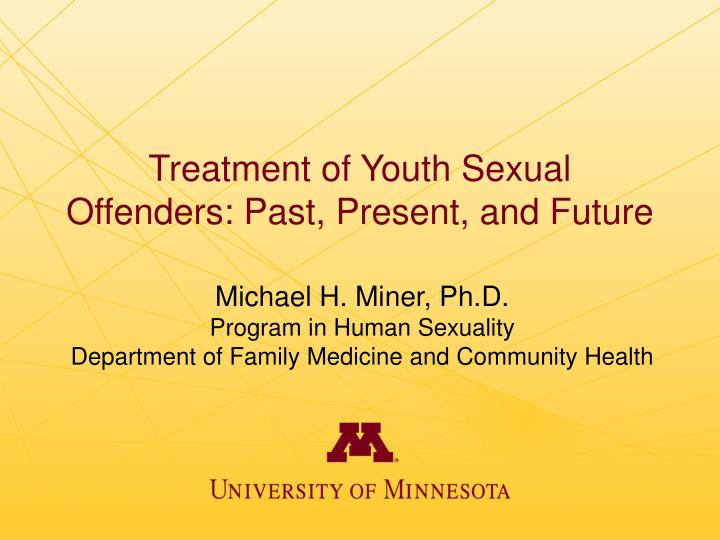 treatment of youth sexual offenders past present and future n.